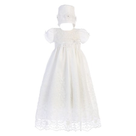 Baby Girls White Embroidered Tulle Sofia Gown Bonnet Christening Set
