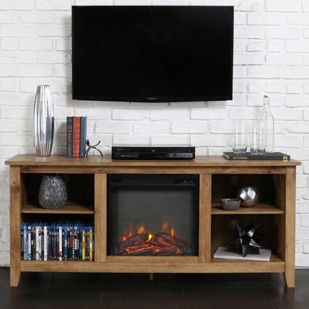 Walker Edison Driftwood Tv Stand With Fireplace Insert For