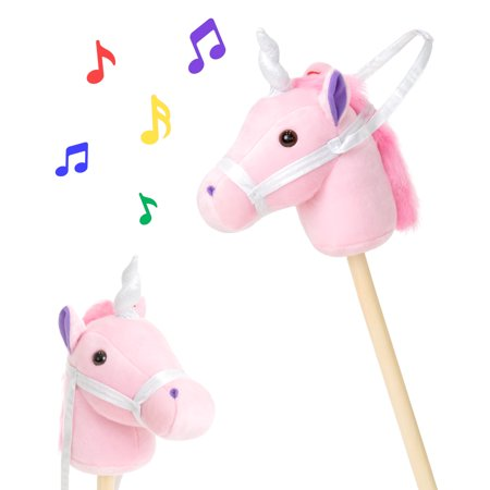 Best Choice Products 38in Kids Stuffed Plush Pretend Giddy Up Unicorn Stick Toy w/ Fun Sounds and Velcro Strap - Pink (Stuffed Unicorn Toy)