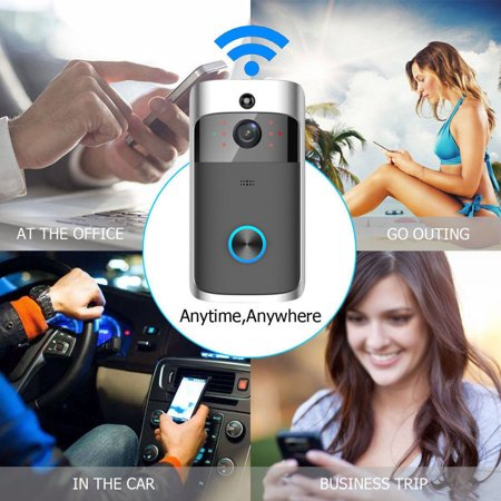 Smart Wireless WiFi Video Doorbell HD Security Camera with PIR Motion Detection Night Vision Two-Way Talk and Real-time Video Suitable etc (Video Door Bell) (Hidden Camera Front Door)