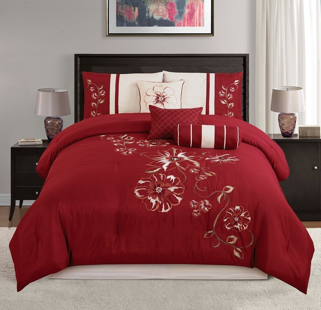 Chezmoi Collection Miranda 7-Piece Floral Hibiscus Embroidered Comforter Set