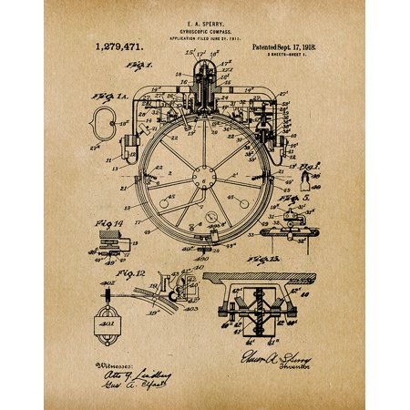Original Compass Artwork Submitted In 1918 - Nautical - Patent Art Print