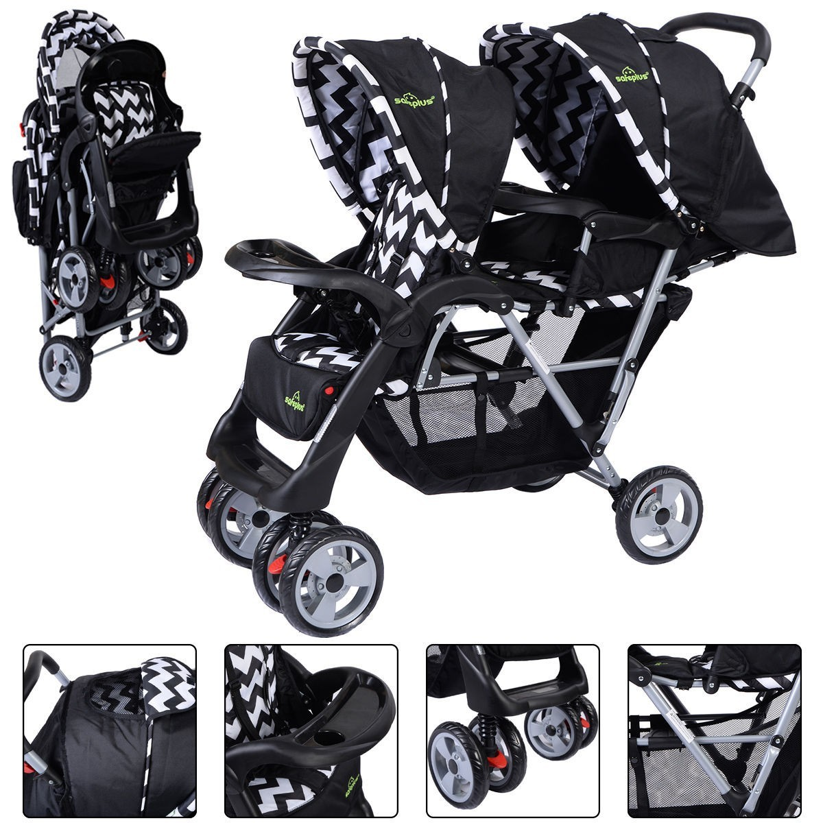 Foldable Twin Baby Double Stroller Kids Jogger Travel Inf...