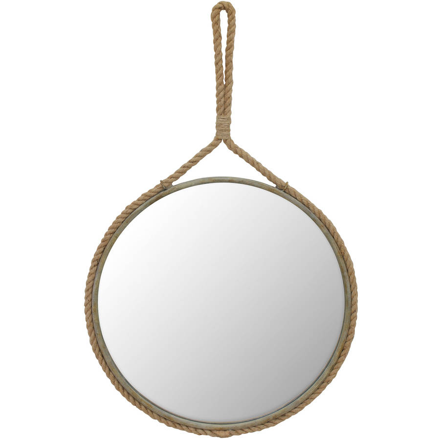 Stonebriar Collection Suspended Round Mirror with Rope Handle by CKK HOME DECOR