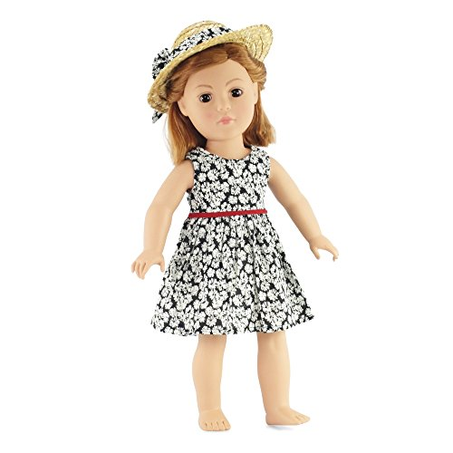 "18 Inch Doll Clothes/clothing Fits American Girl - Black Floral Dress Outfit Includes 18"" Dolls Accessories"