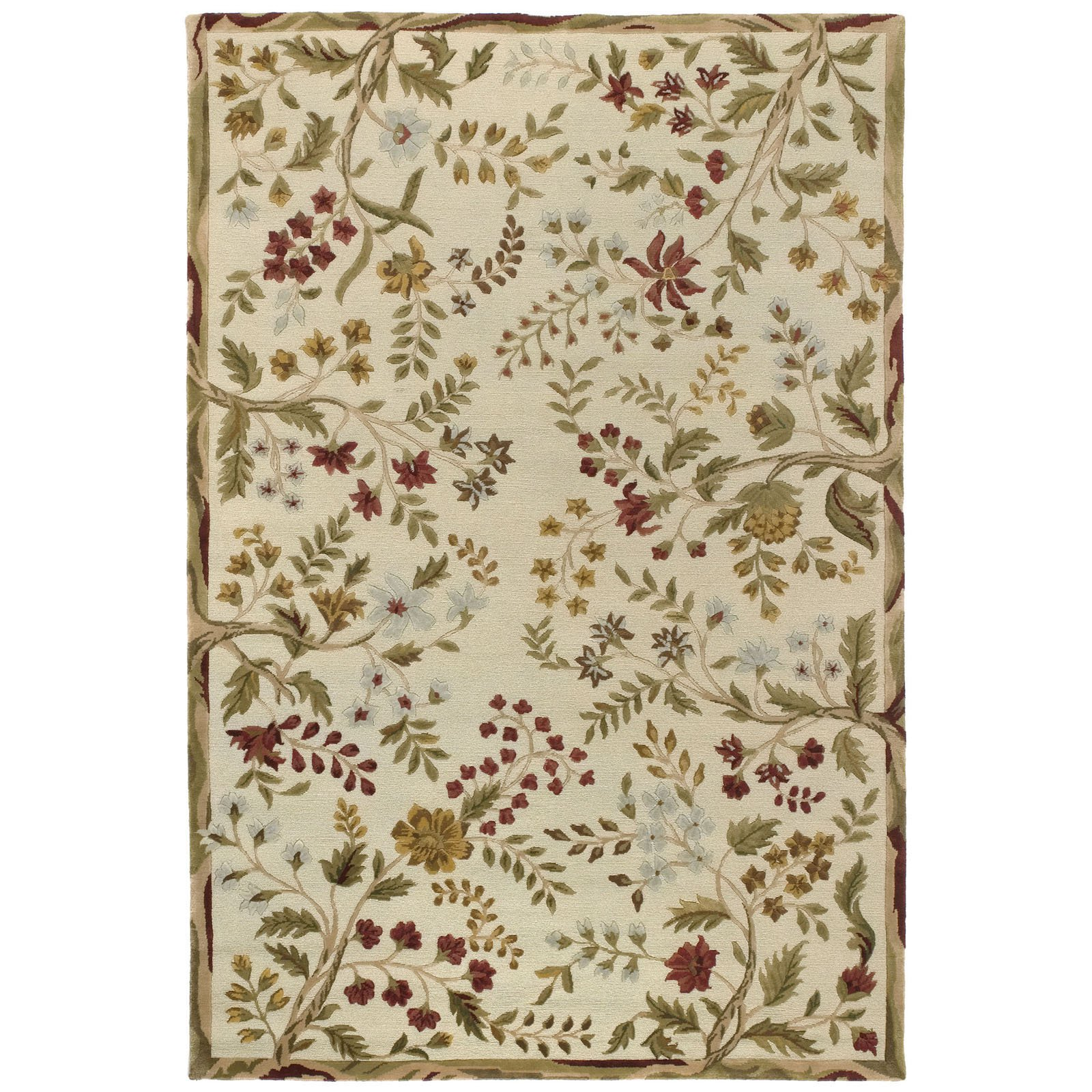 Couristan Eden Summer Vines Ivory/Ruby Area Rug