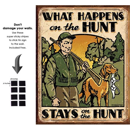 Stripes Tin (Shop72 - What Happens On Th Hunts Stays On Th Hunts Tin Sign Retro Vintage Distrssed - With Sticky Stripes No Damage to Walls )