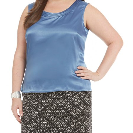 Kasper NEW Light Blue Womens Size 1X Plus Pintucked Scoop Neck Blouse