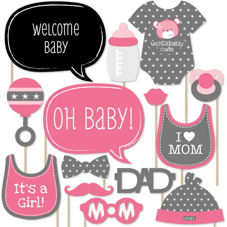 Hello Little One - Pink and Gold - Girl Baby Photo Booth Props Kit - 20 Count (Black And Gold Theme)