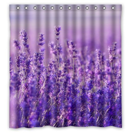 HelloDecor Bouquet of Purple Lavender Flowers Shower Curtain Polyester Fabric Bathroom Decorative Curtain Size 66x72 - Shower Of Flowers