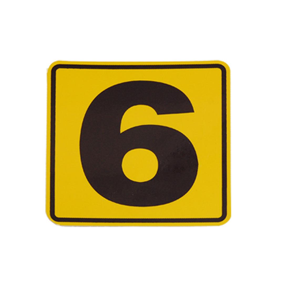 "Unique Bargains 4.4"" x 4.4"" Number 6 Print Car Yellow Black Decal Sticker"