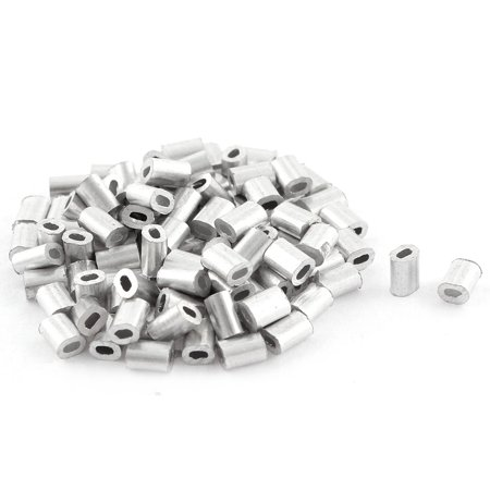 100pcs Oval Aluminum Sleeves Clamps for 0.5mm Wire Rope