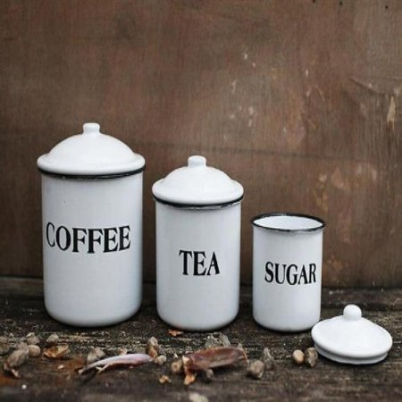Tea Coffee Canisters (Enameled Metal Coffee Tea Sugar Containers Jars W/ Lids White Finish Country Home Kitchen)