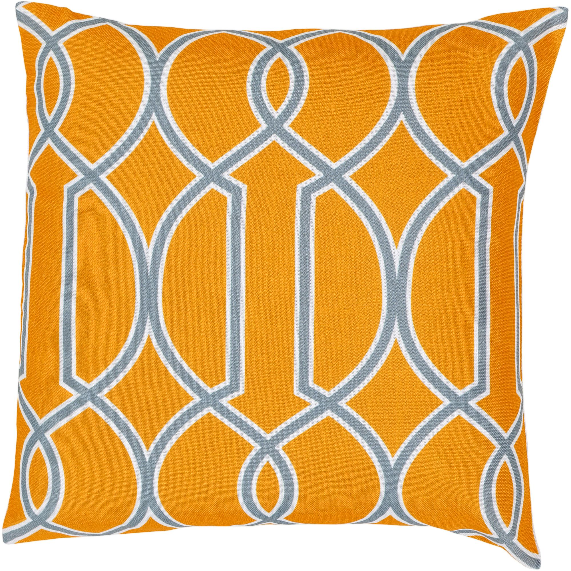 Art of Knot Bentley Hand Crafted Geometric Trellis Decorative Pillow with Poly Filler, Tangerine
