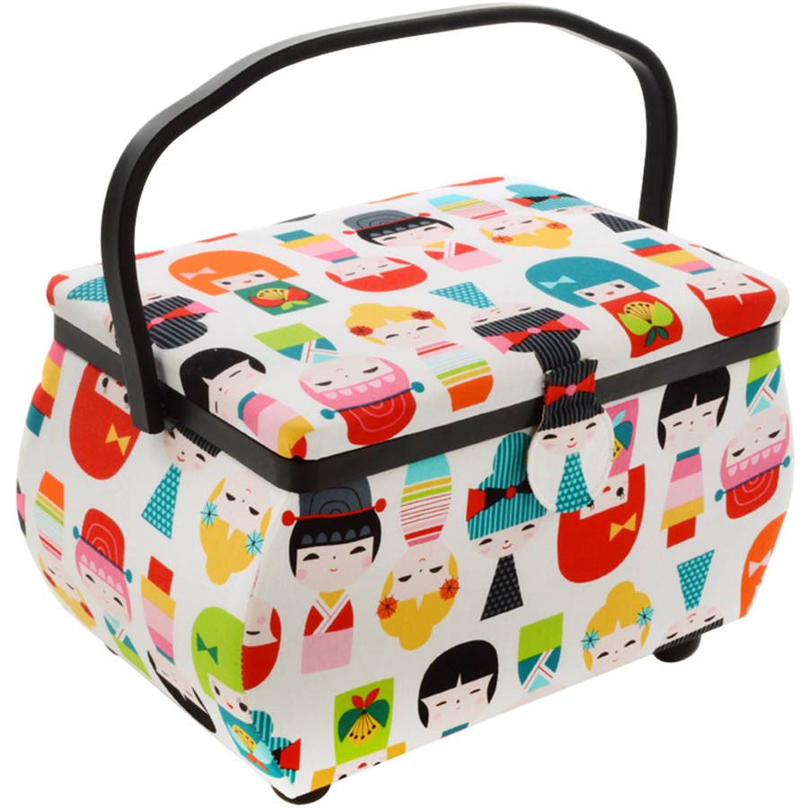 "Sewing Basket Rectangle, 12.75"" x 7.625"" x 7.75"", Doll Print"