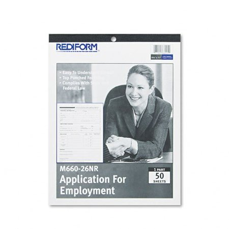 Rediform Employment Application Form   50 Sheet S    Stapled   1 Part   11   X 8 50   Sheet Size   White   50   Pad  M66026nr