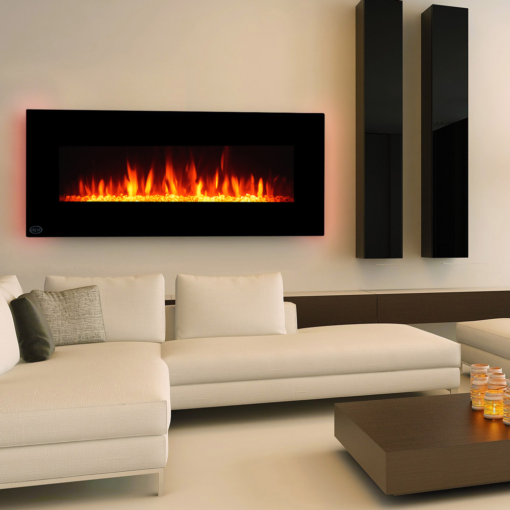 "Clevr Wall Mount 48"" Adjustable Electric Fireplace Heater with Multicolor Backlight & Remote, 750-1500W - Black"