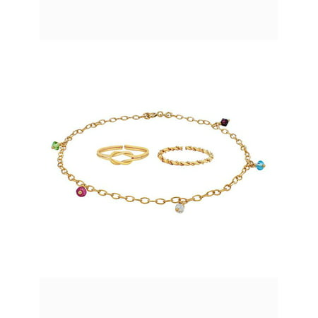 Gold Over Sterling Silver Multi Color Crystal Anklet and Toe Rings Set ()