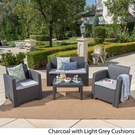 Christopher Knight Home Daytona Outdoor 4-piece Wicker-style Chat Set with Cushion by ()