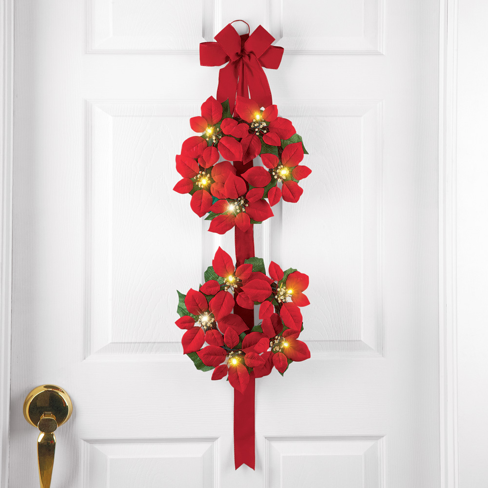 LIGHTED DOUBLE CHRISTMAS POINSETTIA DOOR WREATH WITH BOW BATTERY OPERATED