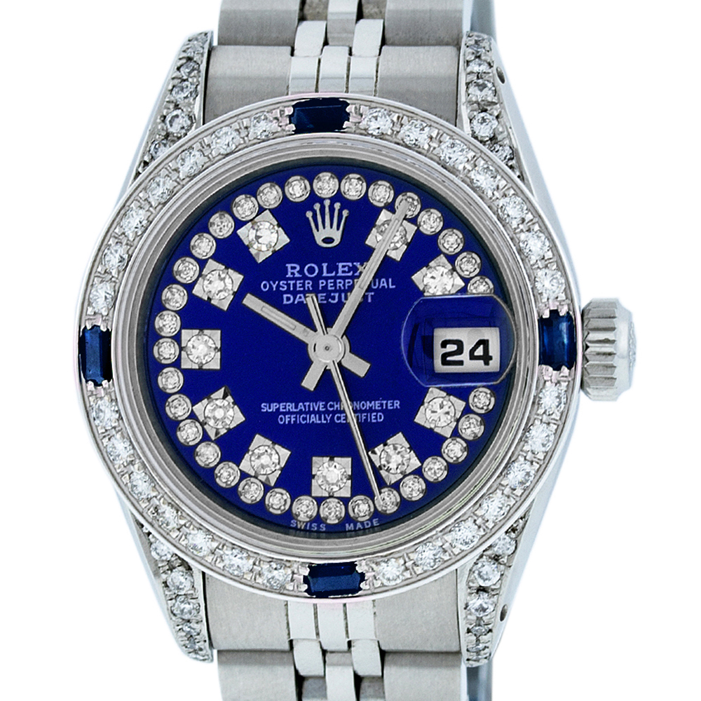 Used Rolex Ladies Datejust Steel & 18K White Gold Royal Blue String Diamond & Sapphire Watch Jubilee Quickset by
