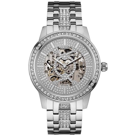 GUESS Silver-tone Automatic Skeleton Stainless Steel Bracelet Watch 44mm (Guess The Designer)