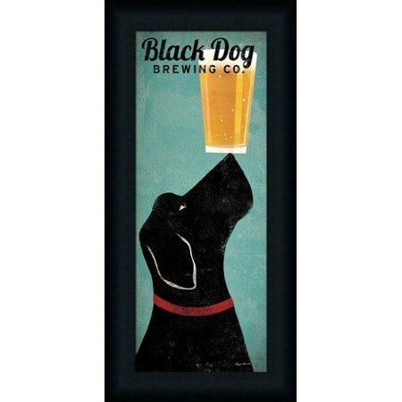 FRAMED Black Dog Brewing Co. by Ryan Fowler 22.5x10.5 Labrador Beer Art Print (Black Labrador Dog Pictures)
