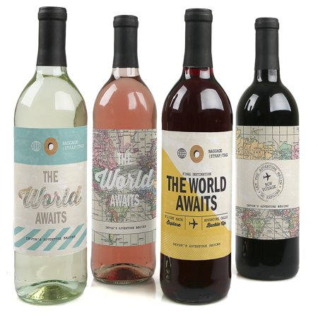 World Awaits - Travel Theme Party Decorations for Women and Men - Wine Bottle Label Stickers - Set of - Wine Themed Party