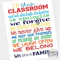 """16x20"""" Classroom Poster In This Classroom Art Inspirational Poster for Elementary School Teacher"""