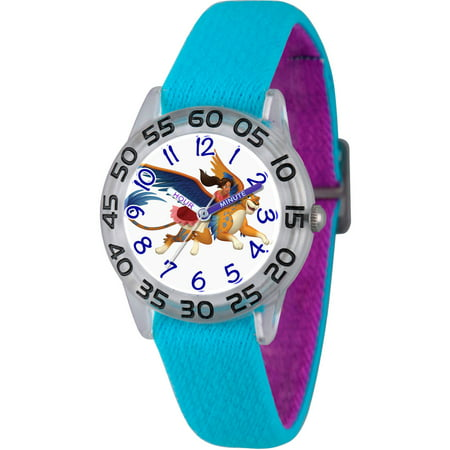 Disney Elena Of Avalor Girls Clear Plastic Time Teacher Watch  Reversible Blue And Purple Nylon Strap
