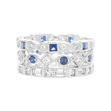 Delicate Antique Style Silver Circle (Inspired by You Round and Square Bead Set Simulated Blue Sapphire and Cubic Zirconia Antique Style Eternity Band 3pc Bridal Ring Set for Women in Rhodium Plated 925 Sterling)