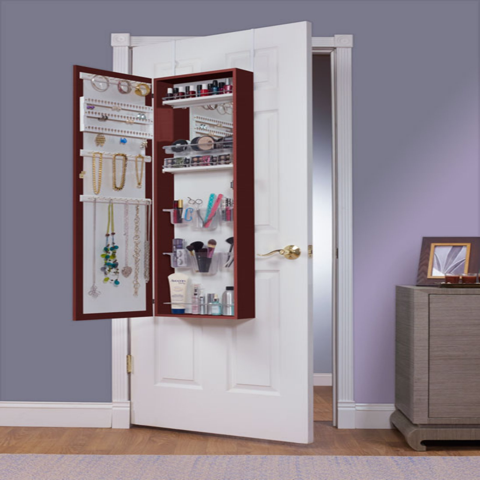 Mirrotek Combination and Makeup Storage Wall Mounted or Over the Door Jewelry Armoire