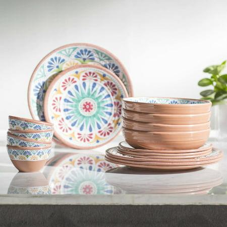 - Life Happens Rio Medallion Melamine 16 Piece Dinnerware Set
