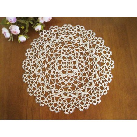Chic Handmade Tatting Lace Cotton Traycloth Doily, 10-inch Round, White Color, 4-piece Set
