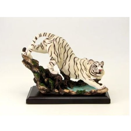White Tiger With Wood Base Figurine New