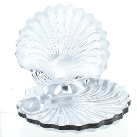 Lot of 12 Silver Seashell Shape Serving Trays Disposable Plastic Novelty Platter (Disposable Platters)