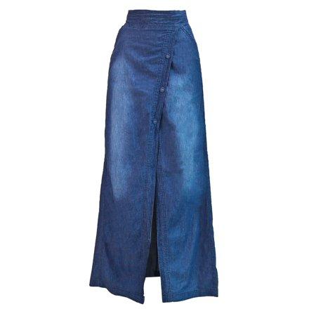 Women's Juniors Long Light Denim Slit Maxi Skirt ()