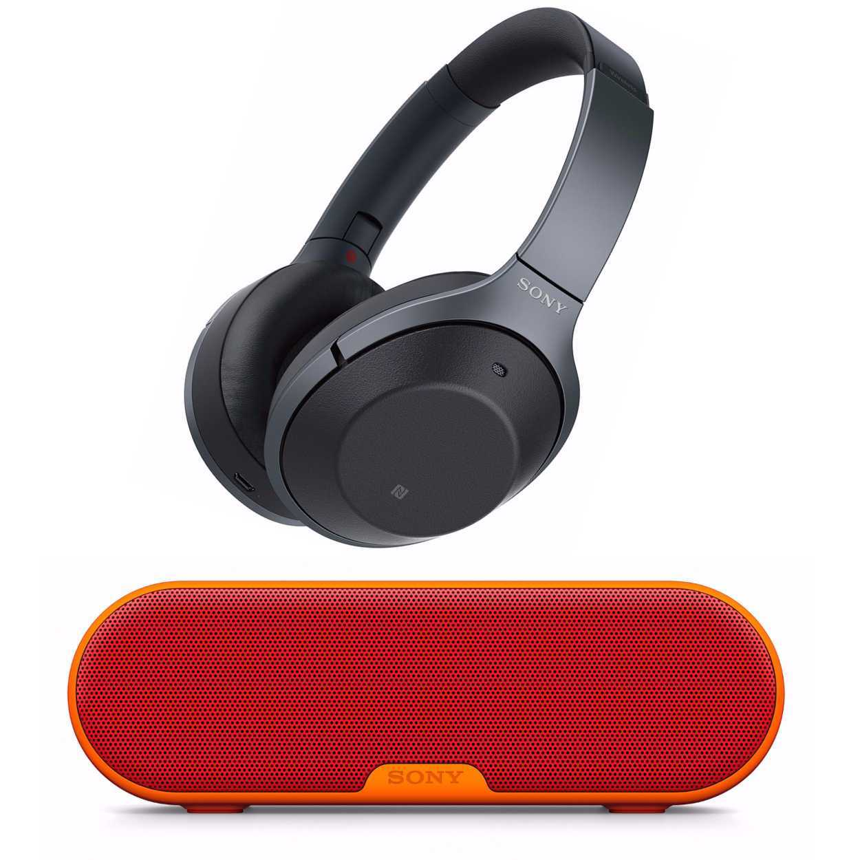 Sony Wireless Noise Cancelling Headphones (Black) with Portable Speaker (Red)