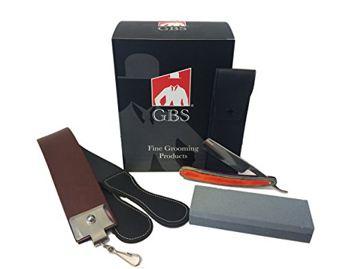 """Straight Razor 5 8"""" Multi Wood Handle, 20"""" Leather Strop, 6"""" Sharpening... by"""