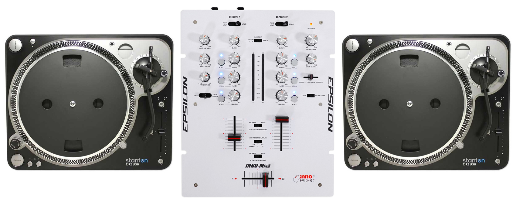 Pair Stanton T.92 USB Direct Drive Turntables T.92USB T92+DJ Scratch Mixer by Stanton