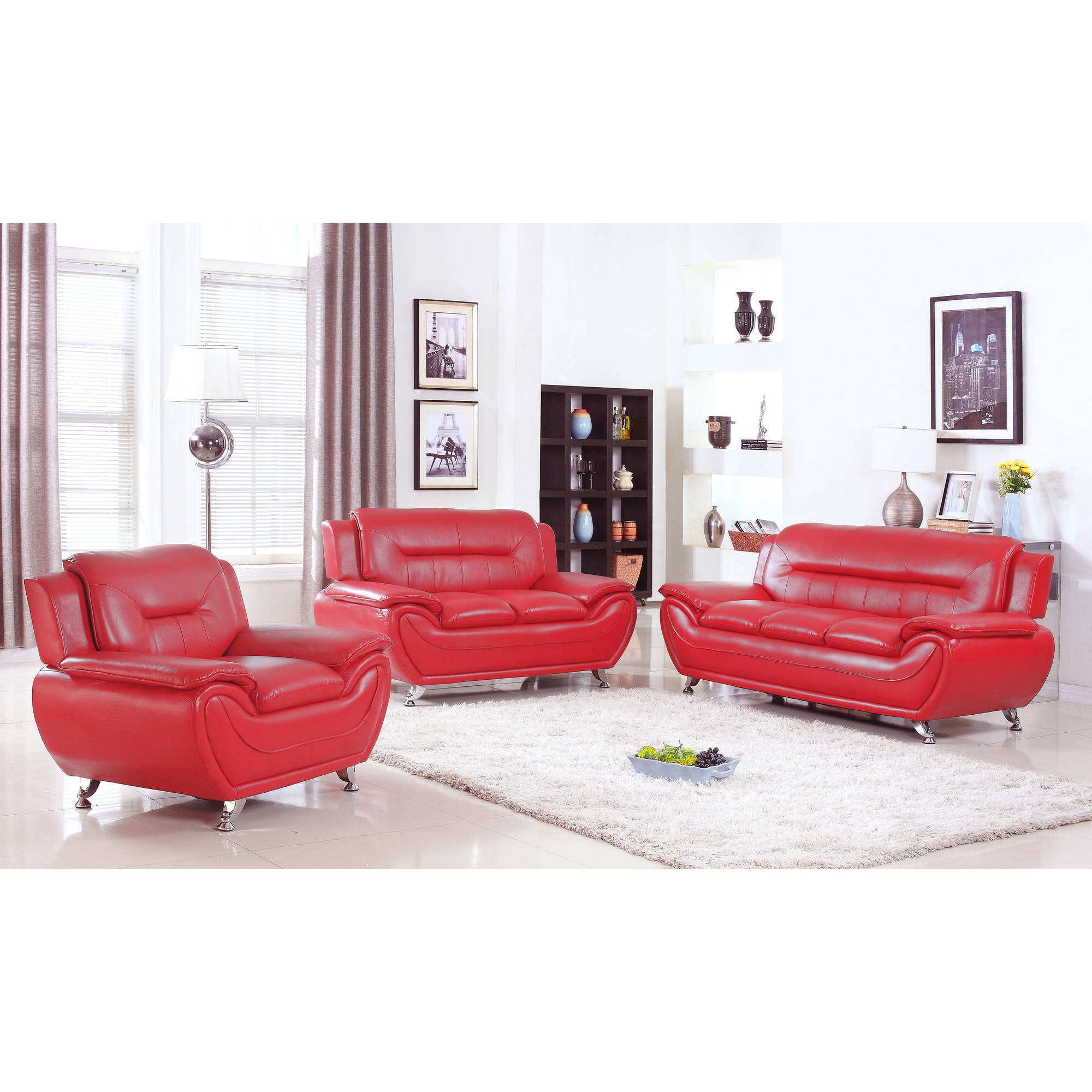 UFE Norton Red Faux Leather 3 Piece Modern Living Room Sofa Set