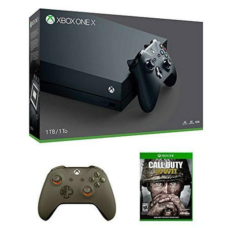 Xbox One X Call Of Duty Wwii Bundle  3 Items   Xbox One X 1Tb Console  Call Of Duty Wwii Game  And Green Wireless Controller