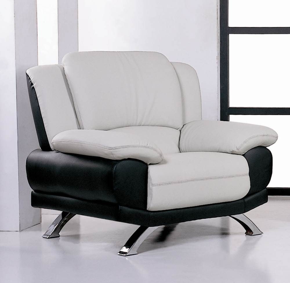 Leather Living Room Chair (Gray & Black)