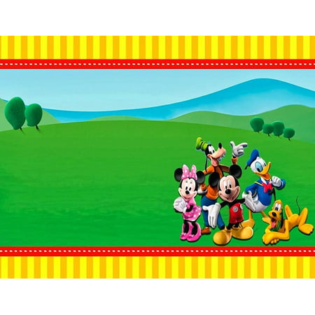 Mickey Mouse Club House Border Minnie Donald Goofy Pluto Edible Cake Topper Image Frame ABPID00169V2](Mickey And Minnie Halloween Cake Topper)