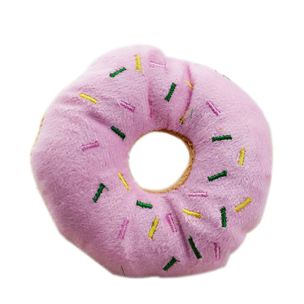 Pet Donut Shape Plush Play Toys Pet Chew Squeaky Toy Dog Cat Sound Playing Tool