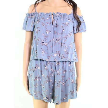 76844001d8e Lush NEW Blue Size Large L Junior Floral Smocked Popover Keyhole Romper -  Walmart.com