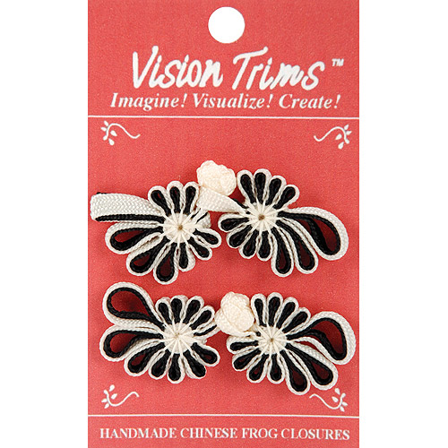 Vision Trims Frog Closure, 7 cm, 2/Pkg, Black/White
