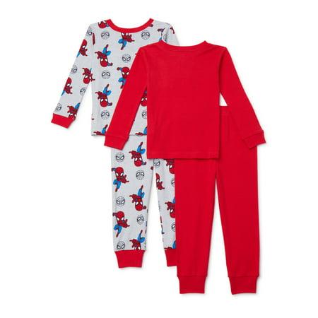 Marvel Super Hero Adventures Toddler Boy Long Sleeve Snug Fit Cotton Pajamas, 4pc Set