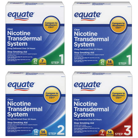 Equate Transdermal System Nicotine Stop Smoking Aid Patches, Choose Your Step Value Bundle
