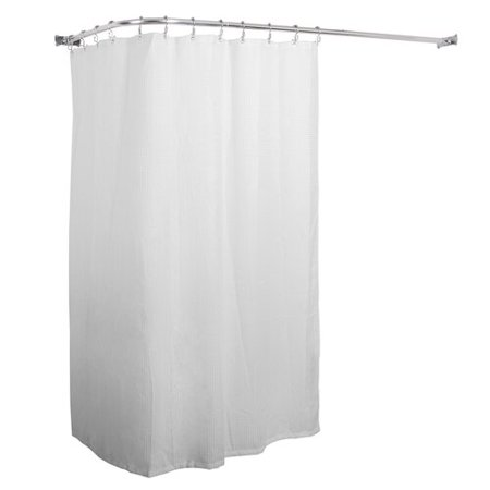 Utopia Alley Aluminum Rustproof 66 L Shaped Fixed Shower Curtain Rod